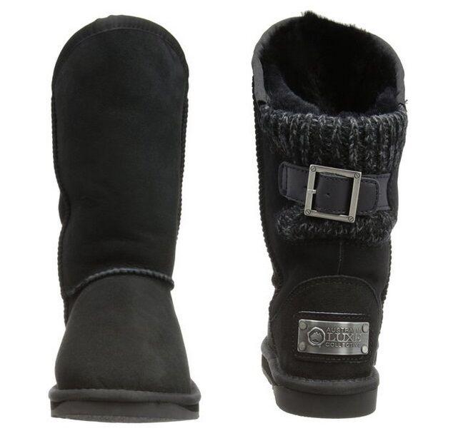 Australia Luxe damen Spartan Knit Buckle Buckle Buckle Shearling Sheepskin Fur Stiefel NEW 1f6d86