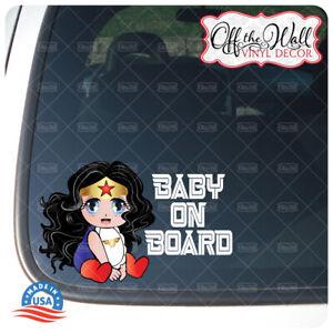 """Anime Character Baby Wonder Woman   """"Baby on Board""""   Printed Die-Cut Vinyl"""