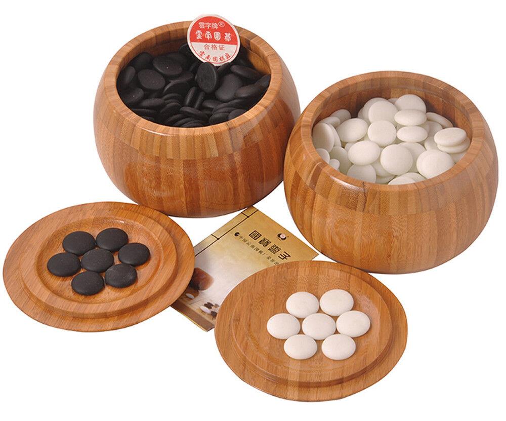 Go Stones Game Set - Yunzi Weiqi in Bamboo Bowls