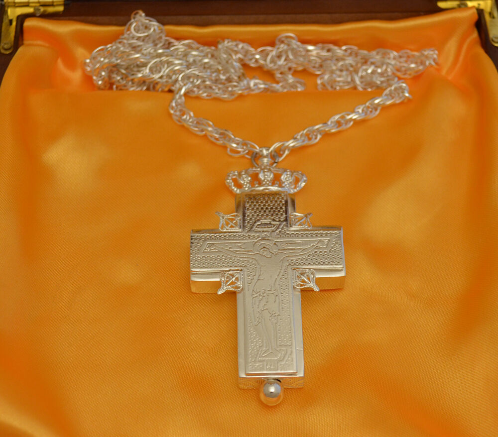 Orthodox Pectoral Engraved Reliquary Cross Gold Or Silber Plated Pektorale Kreuz