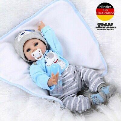 55c Puppe Baby reborn Lebensecht Handgefertigt Mädchen Weich Silikon-Vinyl Neu