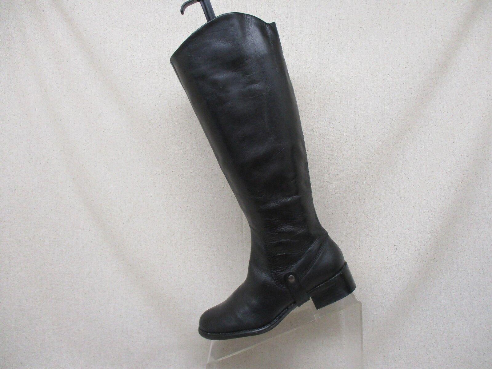 Franco Sarto Cuir noir Fermeture Éclair Latérale Hautes bottes Mode Taille 6 M style Clara
