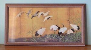 Vintage-stalks-cranes-birds-Japanese-print-framed-glass-Oriental-YLBT17