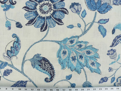 Drapery Upholstery Fabric Mottled Floral Leaf Design on Linen - Blue