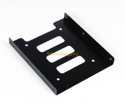 """Black 2.5/"""" SSD to 3.5/"""" Bay Hard Drive HDD Mounting Tray Bracket Adapter w// Cable"""