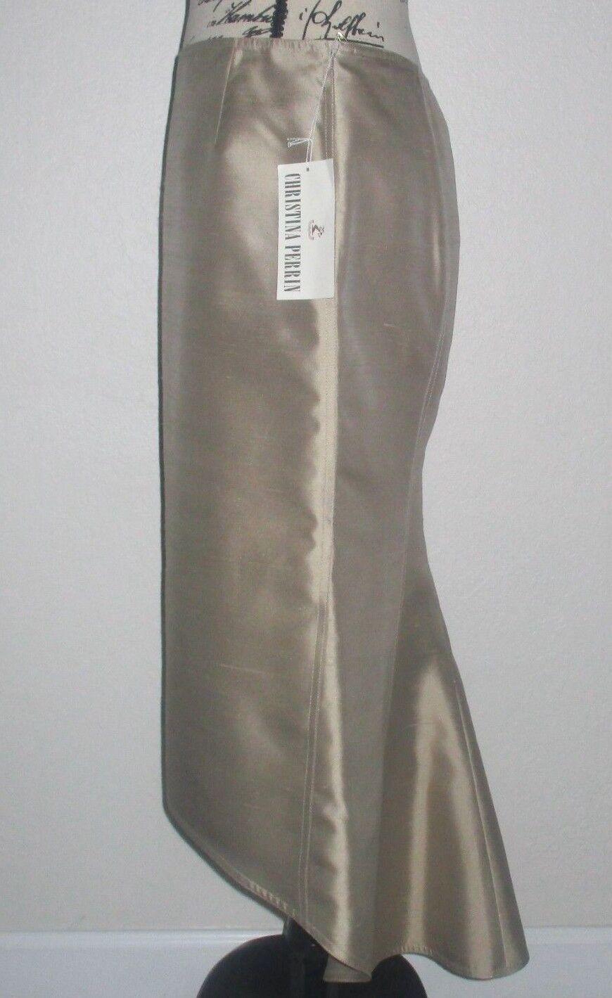 Christina Perrin  High-Low  Matte gold Silk Skirt-Size 8-NWT