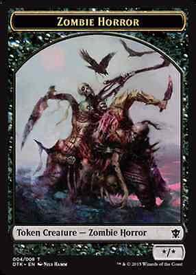 English x4 Zombie Horror Token MTG Dragons of Tarkir C M//NM