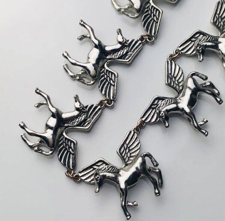 Vintage Multi Pegasus Silver Tone Chain Necklace - image 8