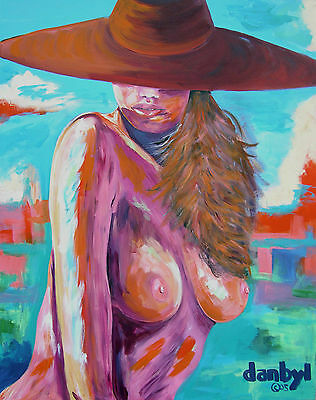 Nude Beach Babe Original Art PAINTING Artist DAN BYL Contemporary Huge 5 x 4ft