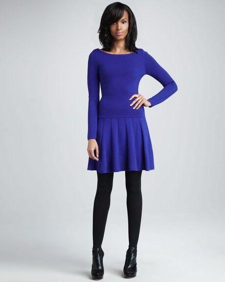 NWT Milly New York Sandra merino wool pleated dress Heliotrope bluee P XS  350