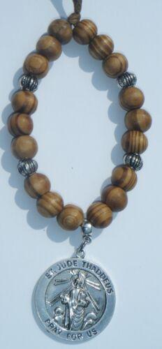 In Car Hanging Wood Wooden Beads /& St Jude Thaddeus Judas Apostle Lebbaeus Saint