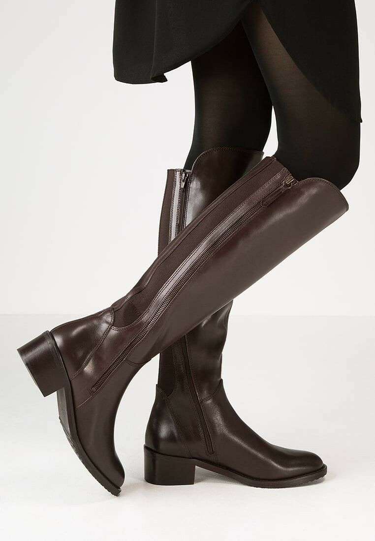 Clarks Artizan Ladies Dark Brown Leather Riding Long Boots Size 7 E (wide fit)