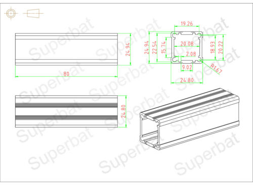 24x24.5x80 Aluminium Box Case for Electronic Project Bloc d/'alimentation amplificateur