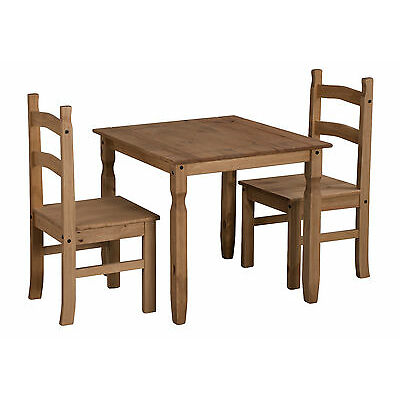 Corona Rio Square Dining Table and 2 Chairs Set Solid Pine by Mercers Furniture