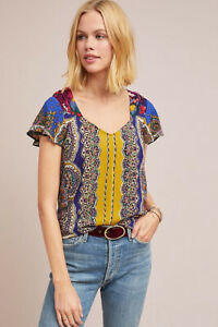NWT-Anthropologie-Teresita-Scarf-Printed-Blouse-Moulinette-Soeurs-Size-4-fits-6