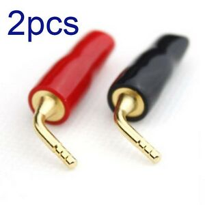 24k-Gold-Plated-Speaker-Cable-Wire-Pin-2mm-Banana-Plug-Screw-Lock-Connect-RAC