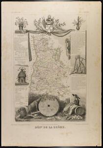 Carte Ancienne Département De La Drôme - 1854c - Levasseur, France Bonne RéPutation Sur Le Monde