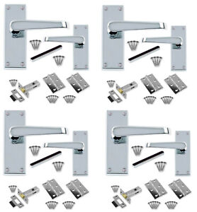 """64mm latches CBX Door Handle Sets x 4 Packs Polished Chrome Straight 3/"""" Hinges"""