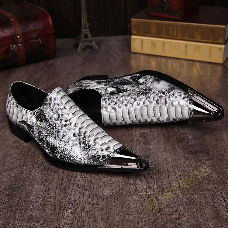 Lo último Hombres Discoteca Zapatos Puntera Puntiaguda Sin Cordones Zapatos Estilo Británico para Empresa Fiesta 53