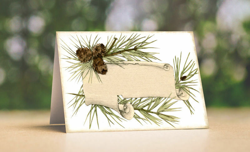 WOODSY RUSTIC PINE TENT STYLE WEDDING PLACE CARDS or TABLE CARDS  348