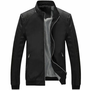 NEW Men's Splice Jacket Casual Jackets Fashion Men Slim PU Leather Coats Tops