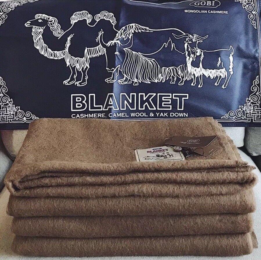 100% Mongolian Cashmere,Gobi Brand, Camel Wool Bedroom Blanket, 200x150cm
