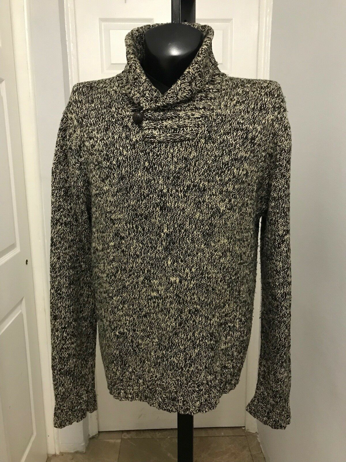 Polo Ralph Lauren shawl Mens Ski lodge flake shawl Sweater  XL leather button