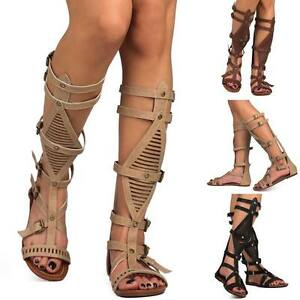 8d24412035 Details about NEW Summer Fashion Open toe Hallow Gladiator Mid Calf Knee  High Sandals Flat G9