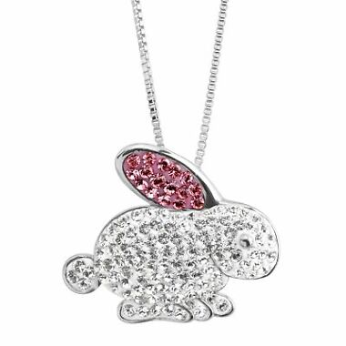Crystaluxe Bunny Rabbit Pendant with Swarovski Crystals