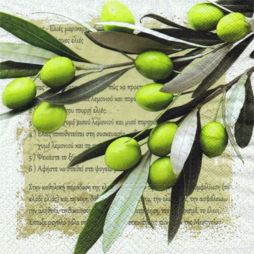 SERVIETTES EN PAPIER OLIVES GRECE ECRITURE GRECQUE PAPER NAPKINS OLIVES GREECE
