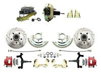 Gm 2 Drop Performance Disc Brake Kit, Red Pc Calipers, 9 Delco Booster Kit