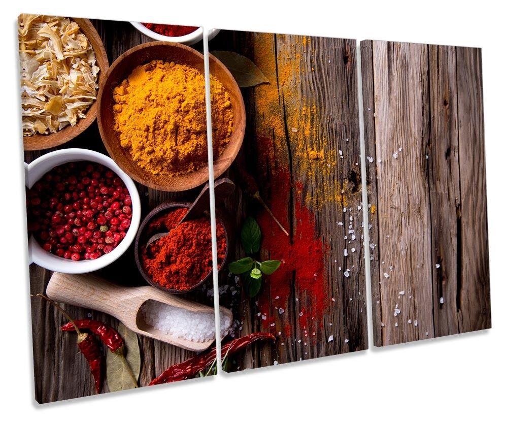 Kitchen Hot Spices Herbs Framed TREBLE CANVAS Drucken Wand Kunst