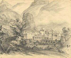 Auory, Eaux-Bonnes, Pyrenees, France – Original 1838 graphite drawing