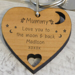Personalised I LOVE YOU TO THE MOON AND BACK Photo Keyring Locket Gift Key Ring