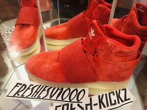 Details about Adidas Originals Tubular Invader Strap Hi Top Red October Suede Men's Size 10.5