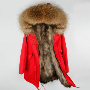 Senora-autentico-cuello-waschbarpelz-capucha-chaqueta-mapache-Pelz-outdoor-Parka