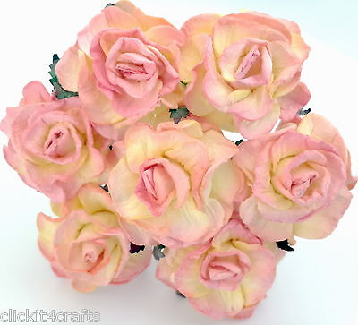 20 Paper Flowers Curly Roses Scrapbook Cardmaking Doll Home Craft Supply G3-526