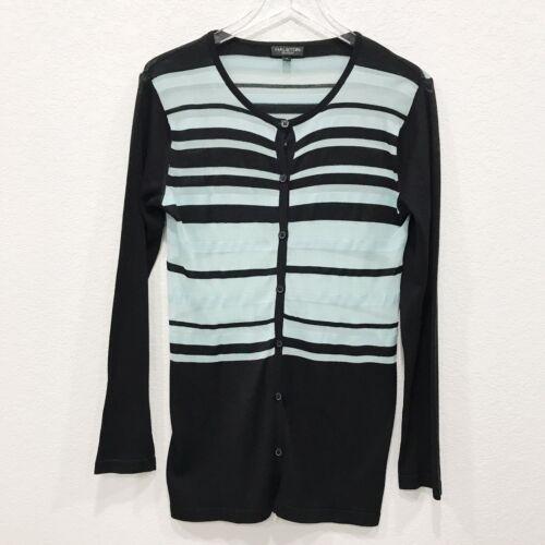 Down Halston Teal seta Cardigan Button Semitrasparente Nero maglia M di Lifestyle in gpgwqPH