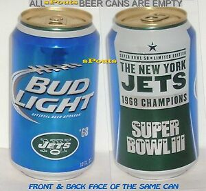 1968 NEW YORK JETS SUPERBOWL #3 BUD LIGHT 2015 BEER CAN NFL NY FOOTBALL MAN CAVE