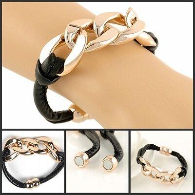 Hot NEW Style Vintage Leather Magnet Bracelet Gold Fashion Bangle Hand Jewelry