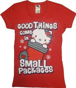 Juniors-Hello-Kitty-Good-Things-Come-Small-Packages-Christmas-T-Shirt-Tee-Shirt