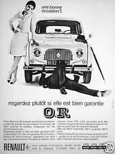 PUBLICITÉ 1969 RENAULT 4 REGARDEZ PLUTÔT ELLE EST BIEN GARANTIE VOITURE OCCASION