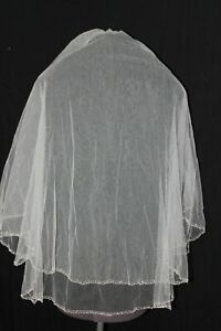 New double layer light ivory beaded and crystal edge bridal veil, $170