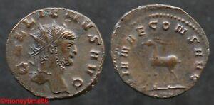 Romaine-Antoninien-de-cuivre-de-GALLIEN-revers-Antilope-a-gauche