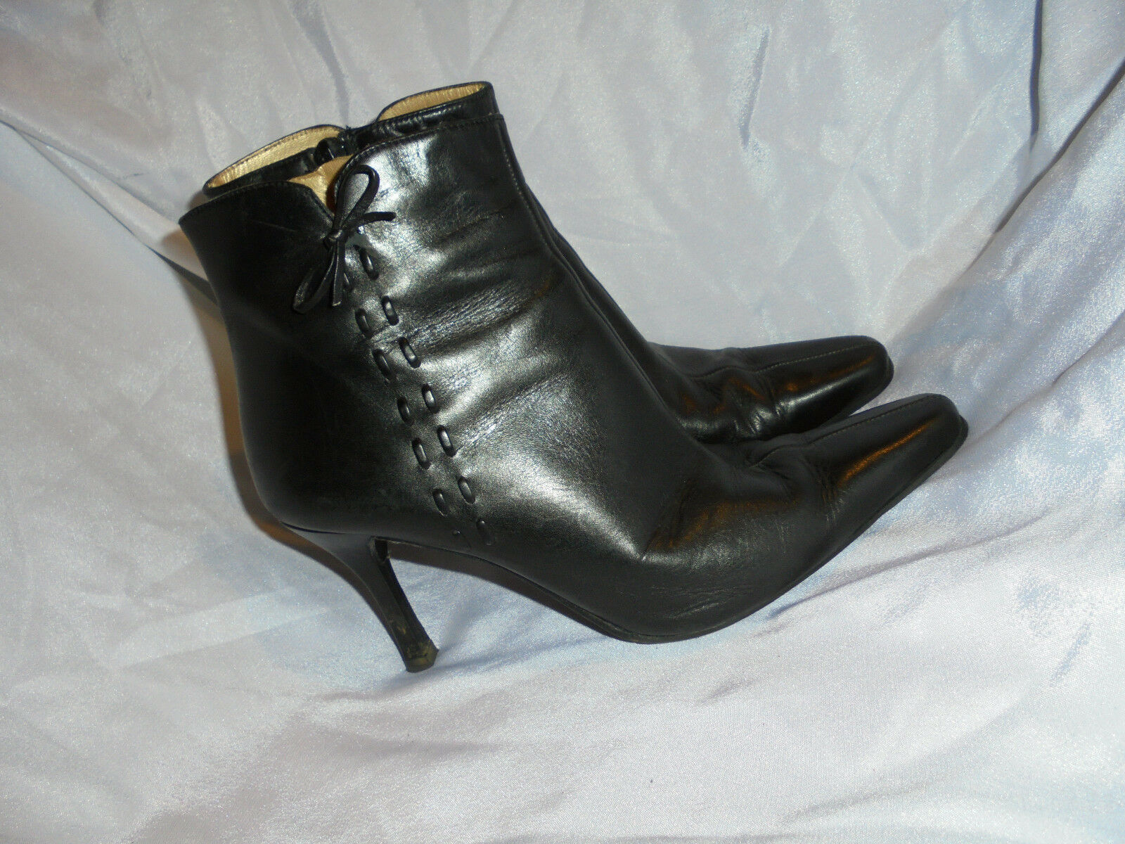 AZUREE WOMEN'S 6 BLACK LEATHER ZIP ANKLE Stiefel SIZE UK 6 WOMEN'S EU 39 VGC 754f43