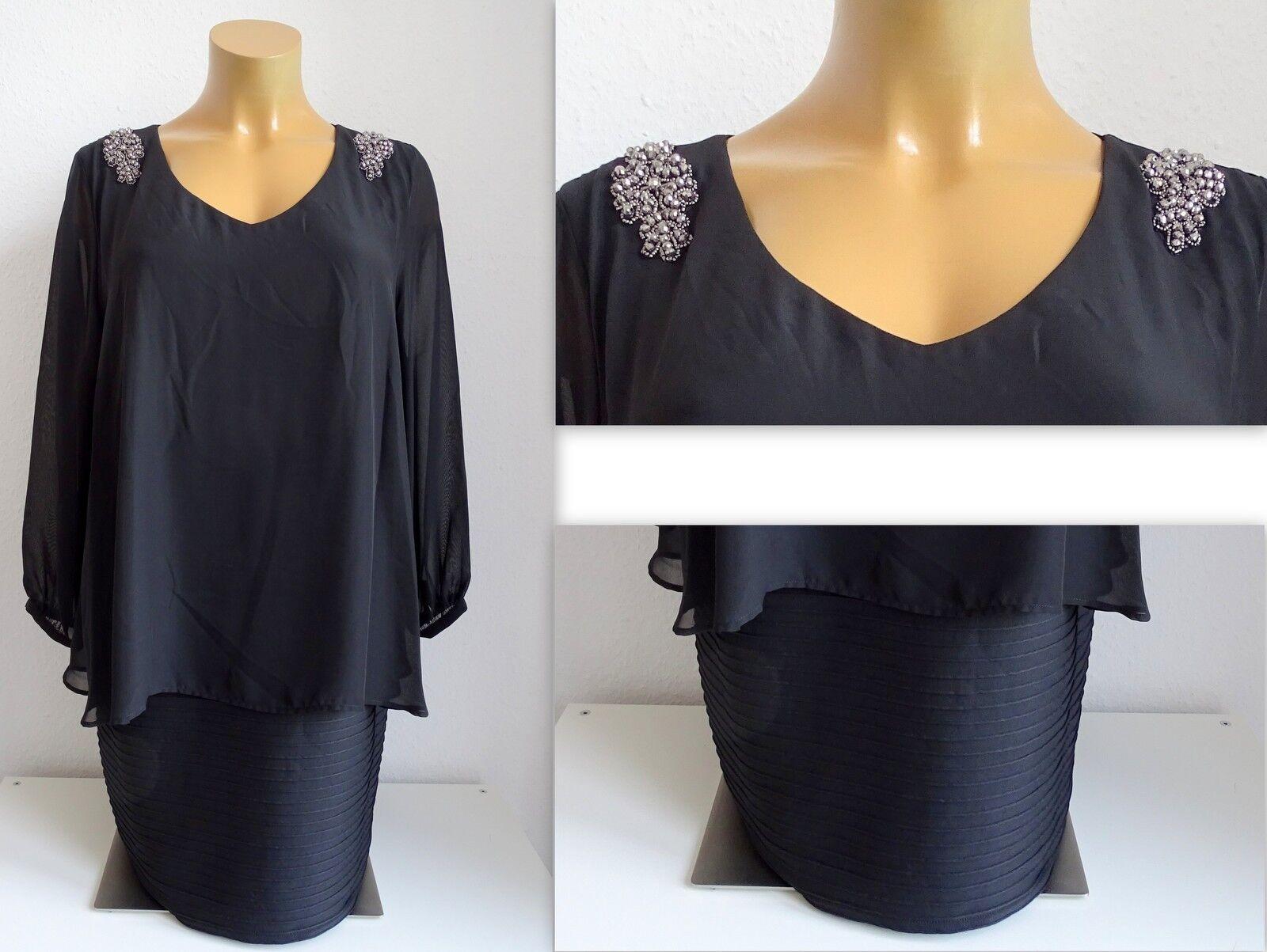 NEU Kurzgröße elegantes ausgefallenes Abend Kleid schwarz Gr.26,27,28,31