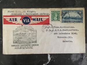 1936-Rimouski-Canada-to-Harrington-harbor-FFC-airmail-First-Flight-Cover