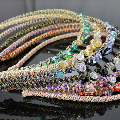 Colorful Irregular Crystal Beads Gold Wire Hairband Headband Hoop AccessoriesRDR
