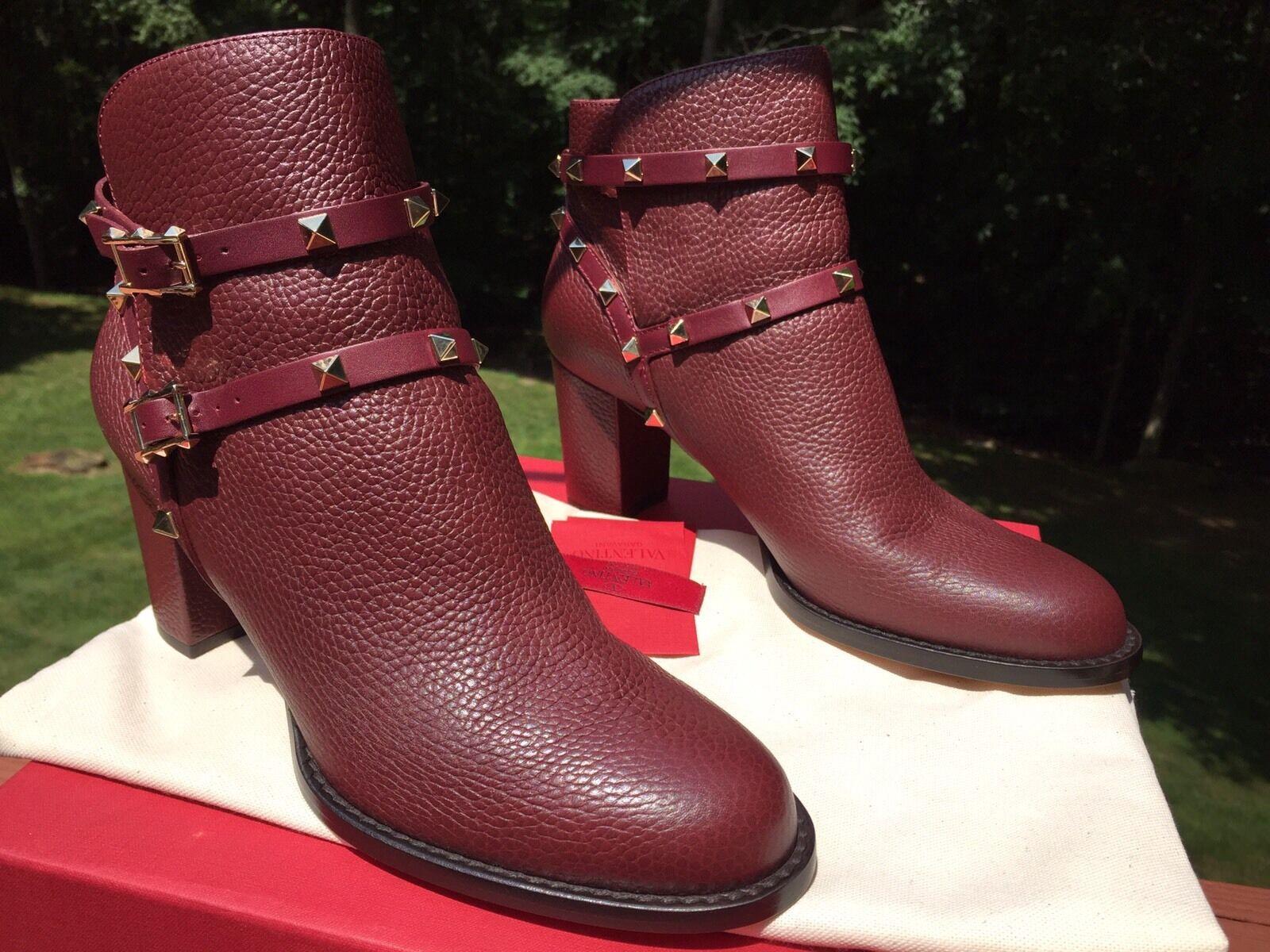 NIB 1375 Valentino Rockstud Wine Ankle City Block Heel Bootie Boot 41 11 10.5 10