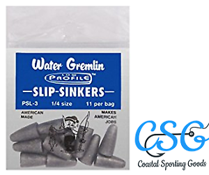 4 different sizes to choose from 3 Bags of 11ct Water Gremlin Slip Sinkers